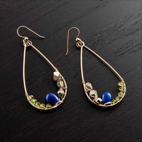 Narrow Gravity Earring // Green & Blue