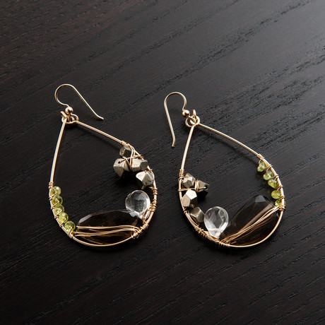 Gravity Earring // Brown & Green