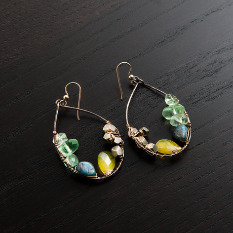 Gravity Earring // Green & Blue