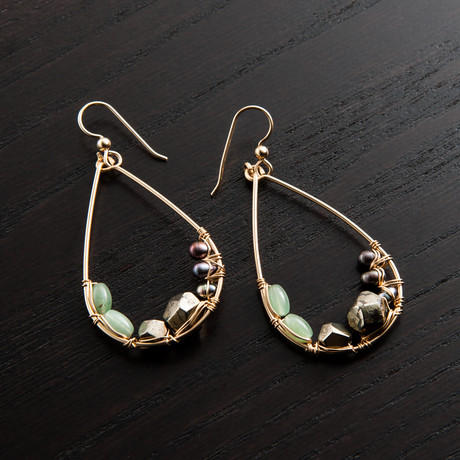 Mini Gravity Earring // Green & Black