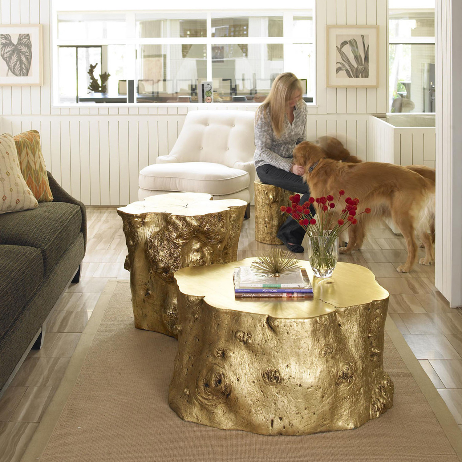 Gold Gilded Coffee Table: Log Cocktail Table // Gold Leaf