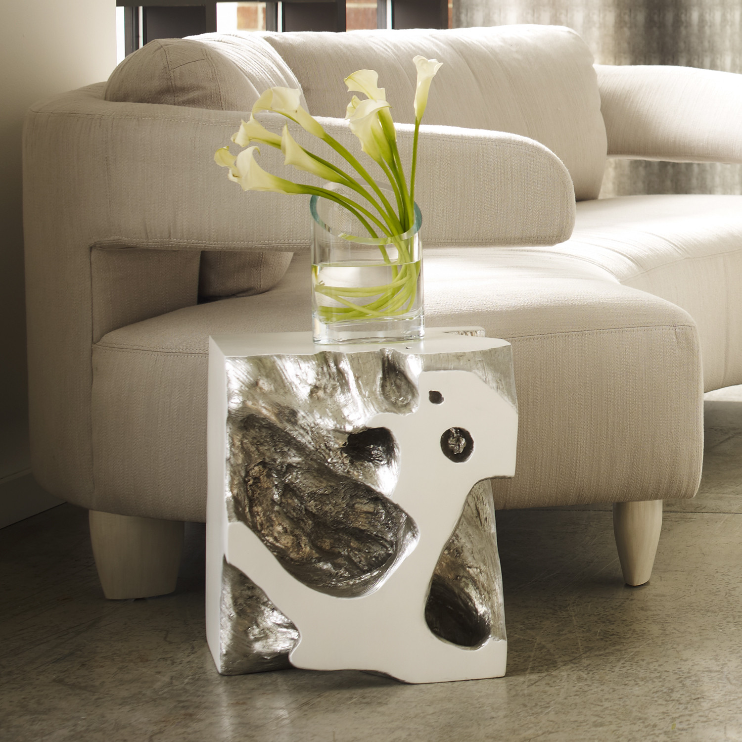 Freeform Stool Silver Leaf Phillips Collection Touch of Modern