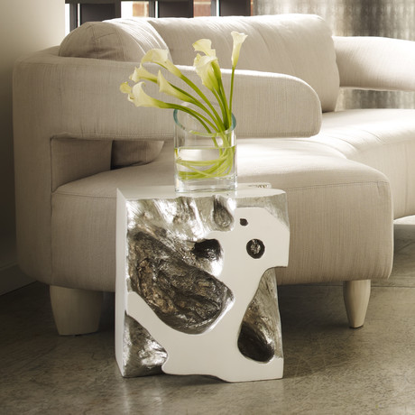 Freeform Stool Silver Leaf Phillips Collection