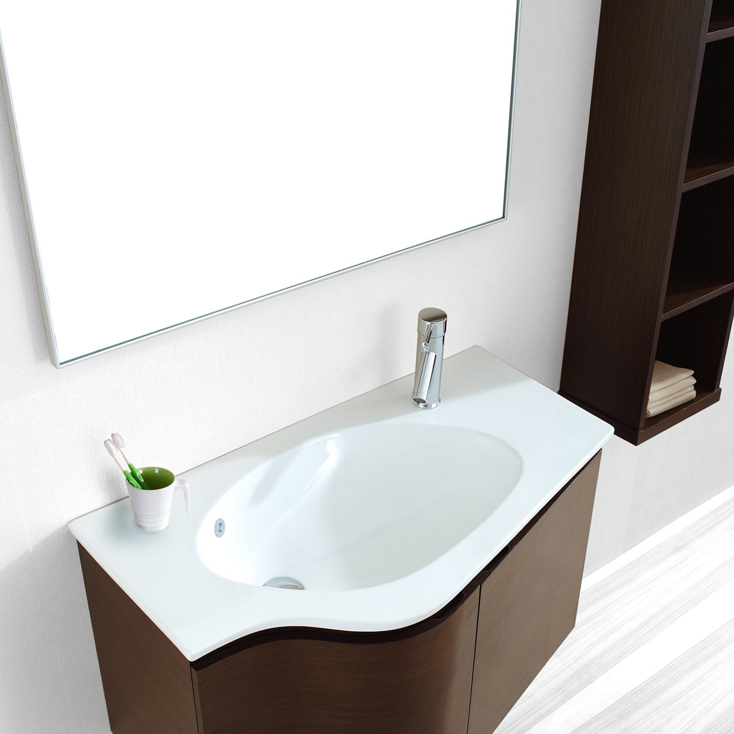 Roselle walnut virtu usa touch of modern for How deep is a bathroom vanity