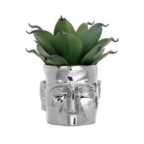 "Face Shape // Ceramic Drop Pot Planter // Chrome (5.75""H)"