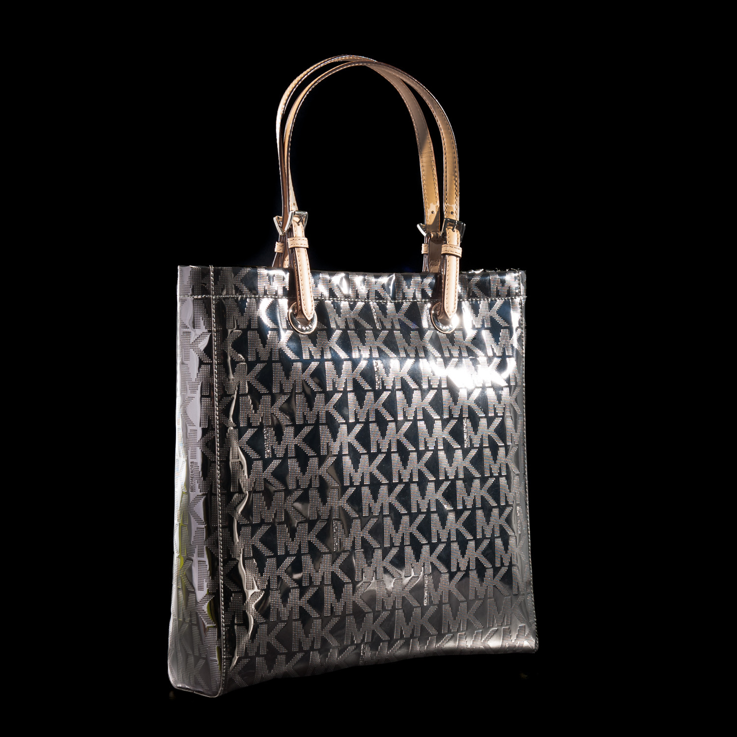 Signature Mirror Metallic North South Tote Nickel