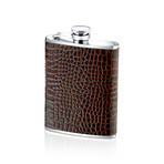 Genuine Leather Flask // Brown + Crocodile