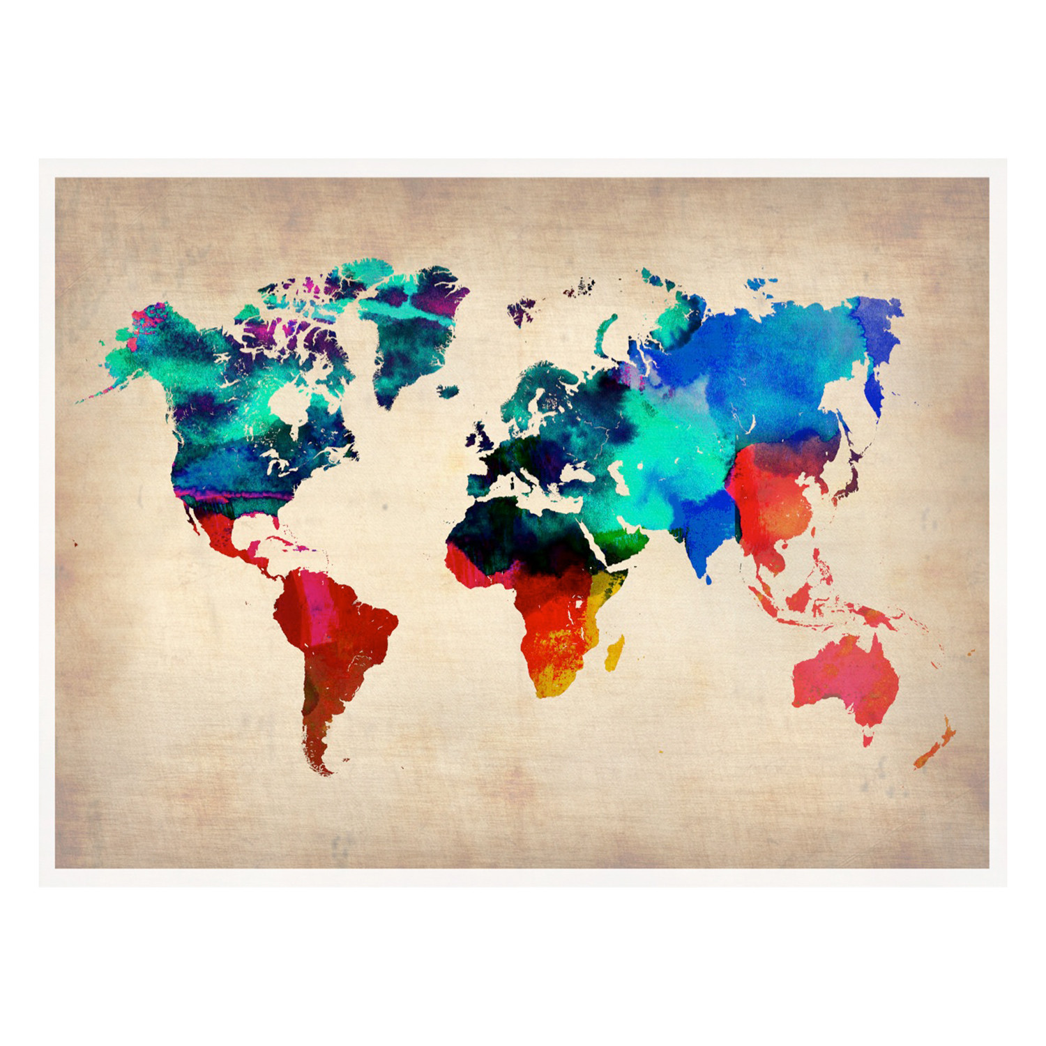 World Watercolor Poster Naxart Countries Continents