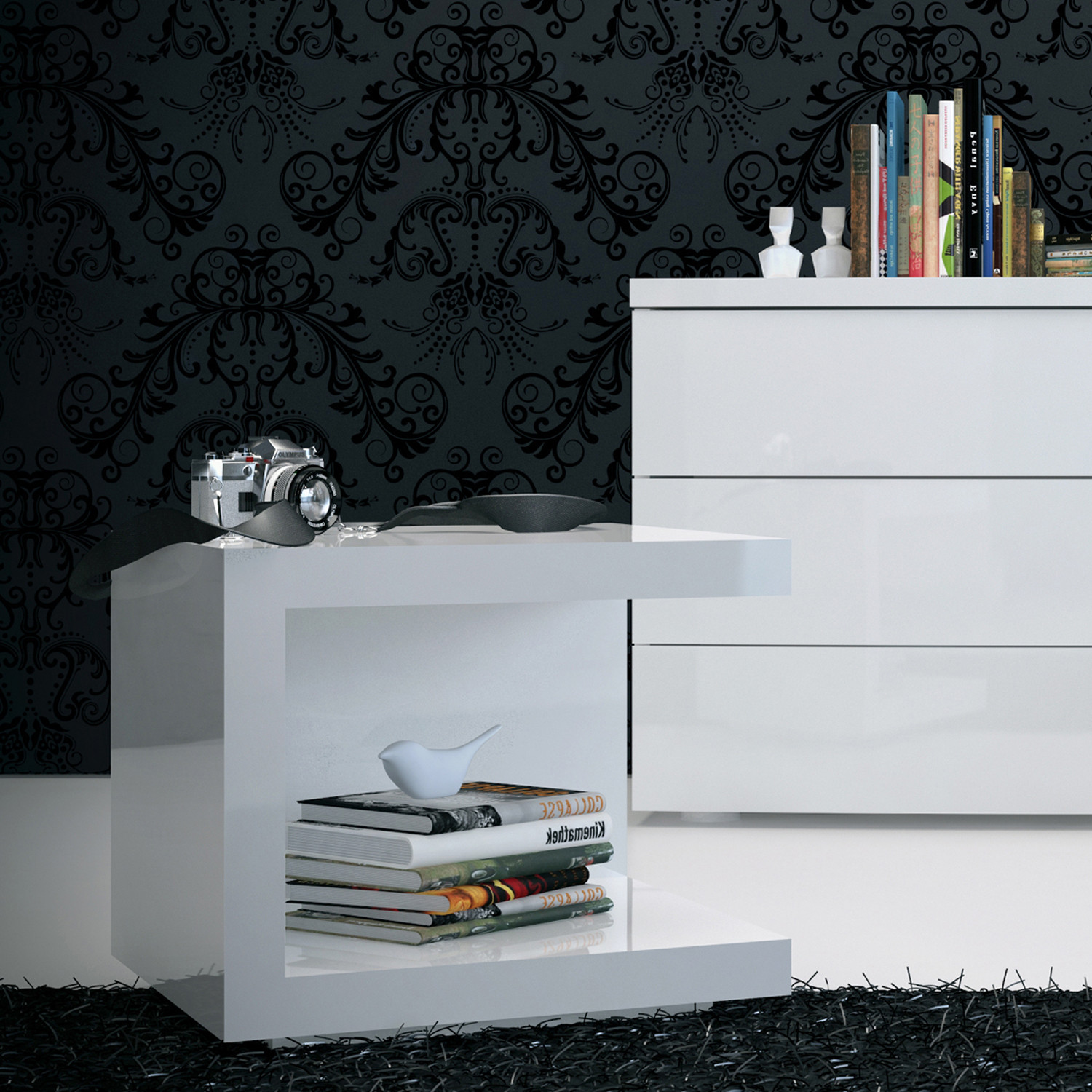 Ludlow Nightstand White Lacquer Modloft Bedroom Touch of Modern
