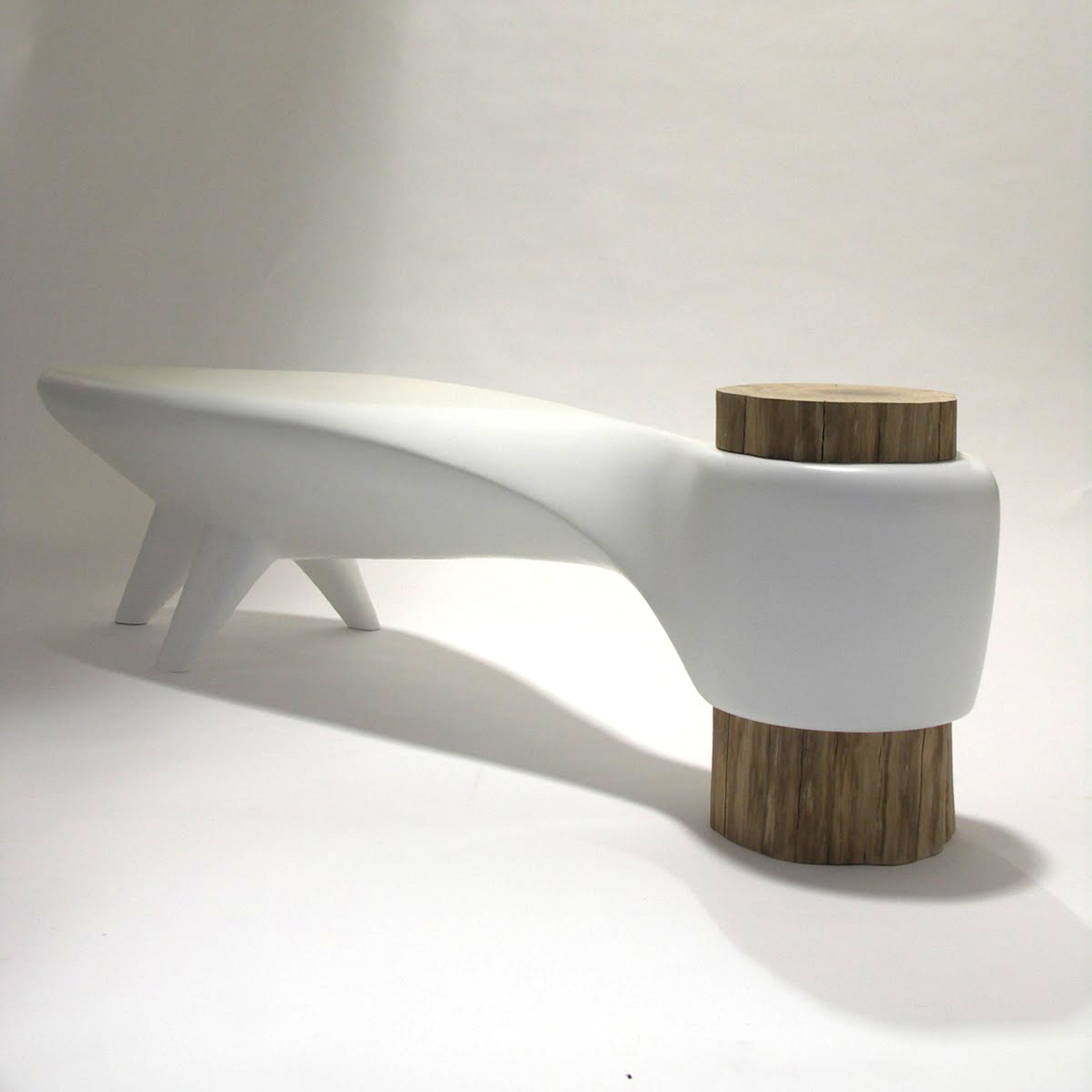 Akene bench white binome touch of modern for Indoor furniture design