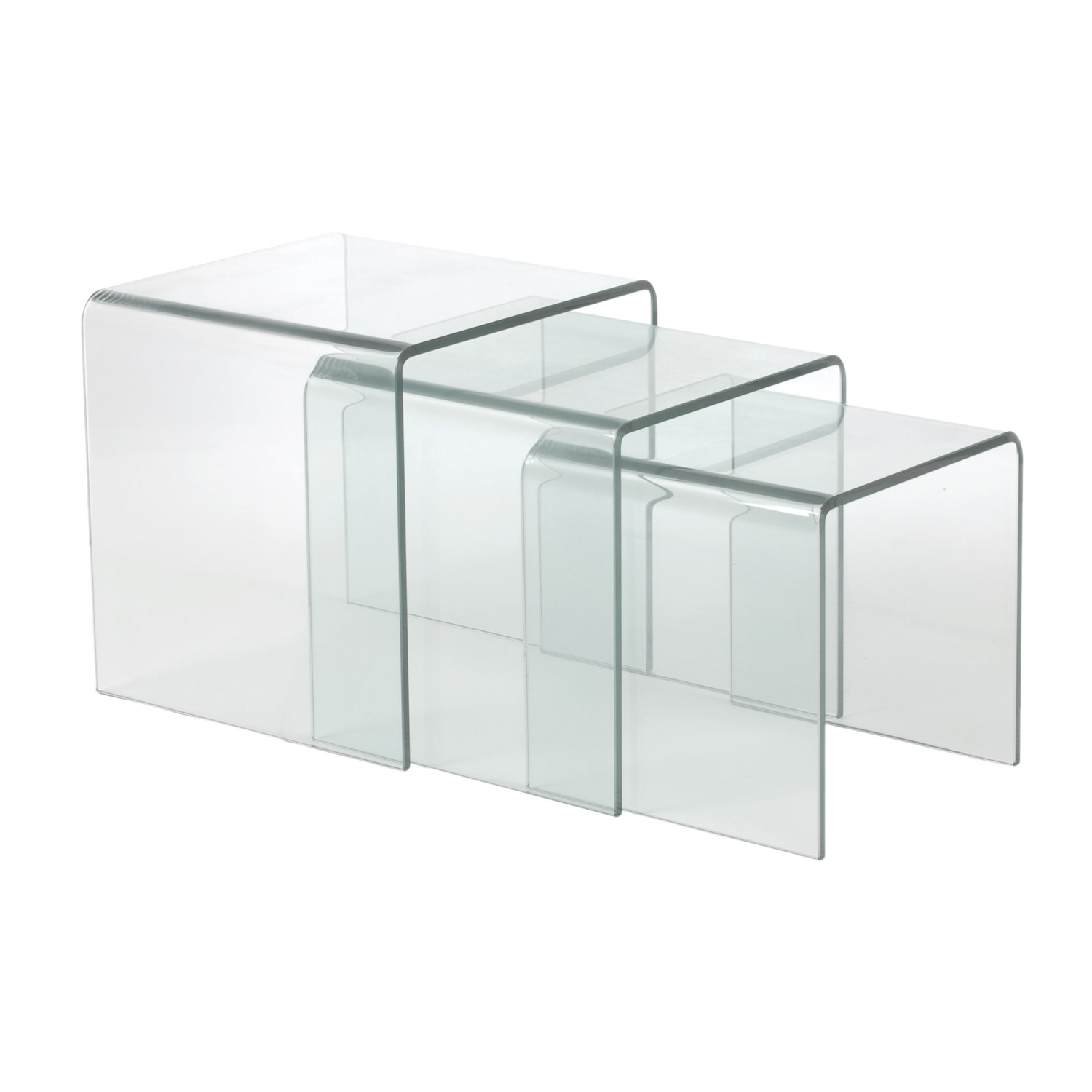 Bent glass nesting tables set of 3 affordably modern touch of bent glass nesting tables set of 3 watchthetrailerfo
