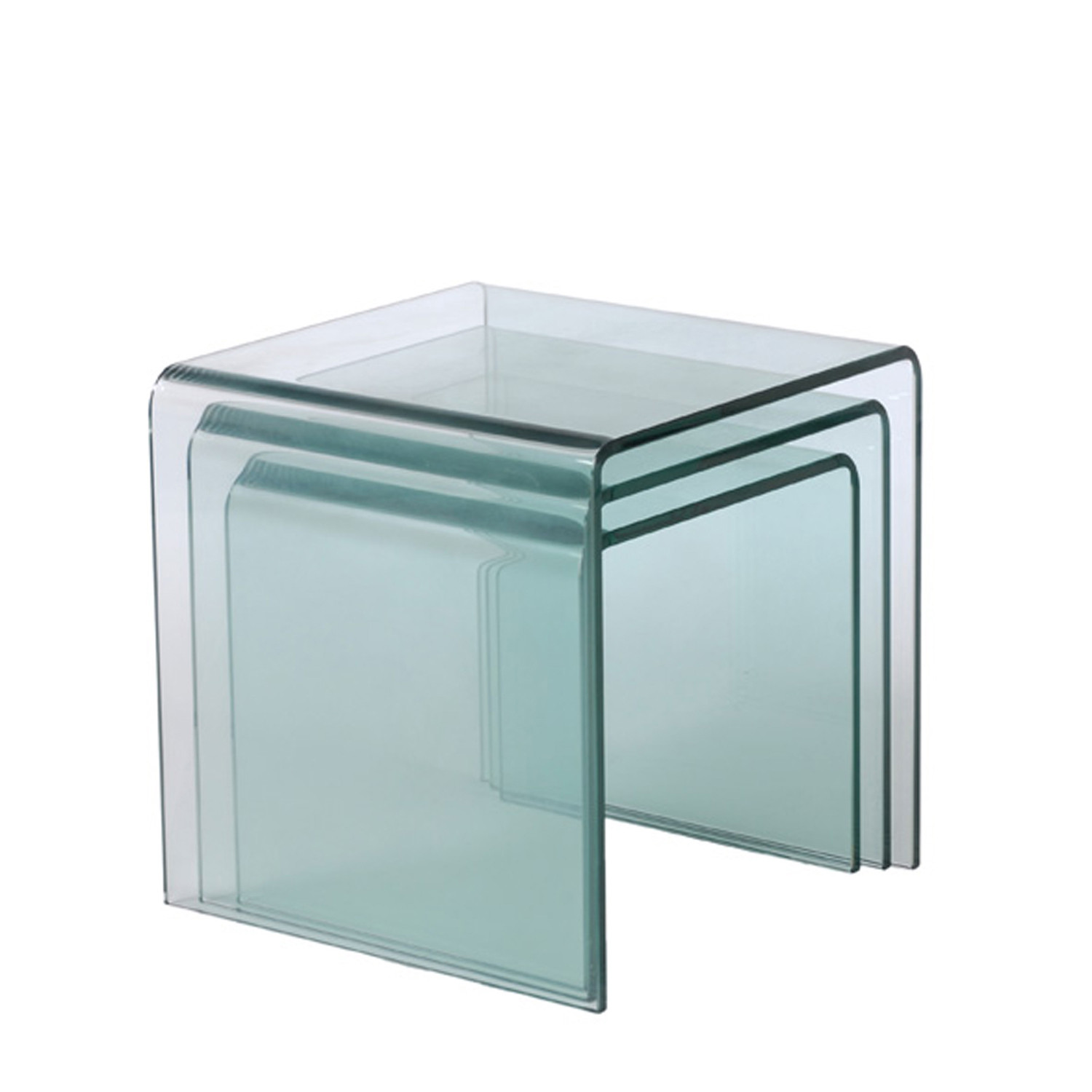 Good Bent Glass Nesting Tables // Set Of 3