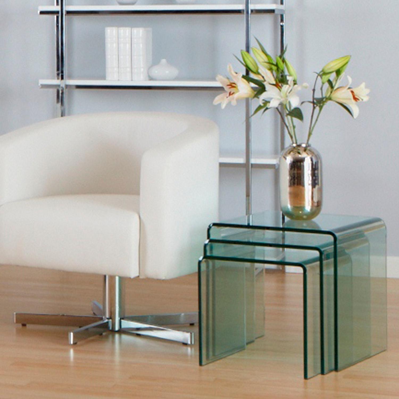Bent glass nesting tables set of 3 affordably modern touch of bent glass nesting tables set of 3 watchthetrailerfo
