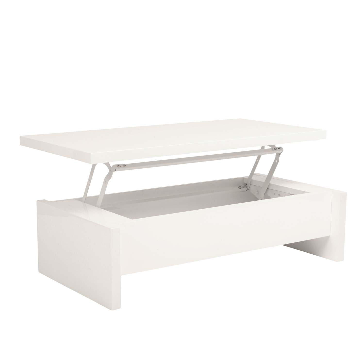 Multi Level Storage Coffee Table White Lacquer Affordably