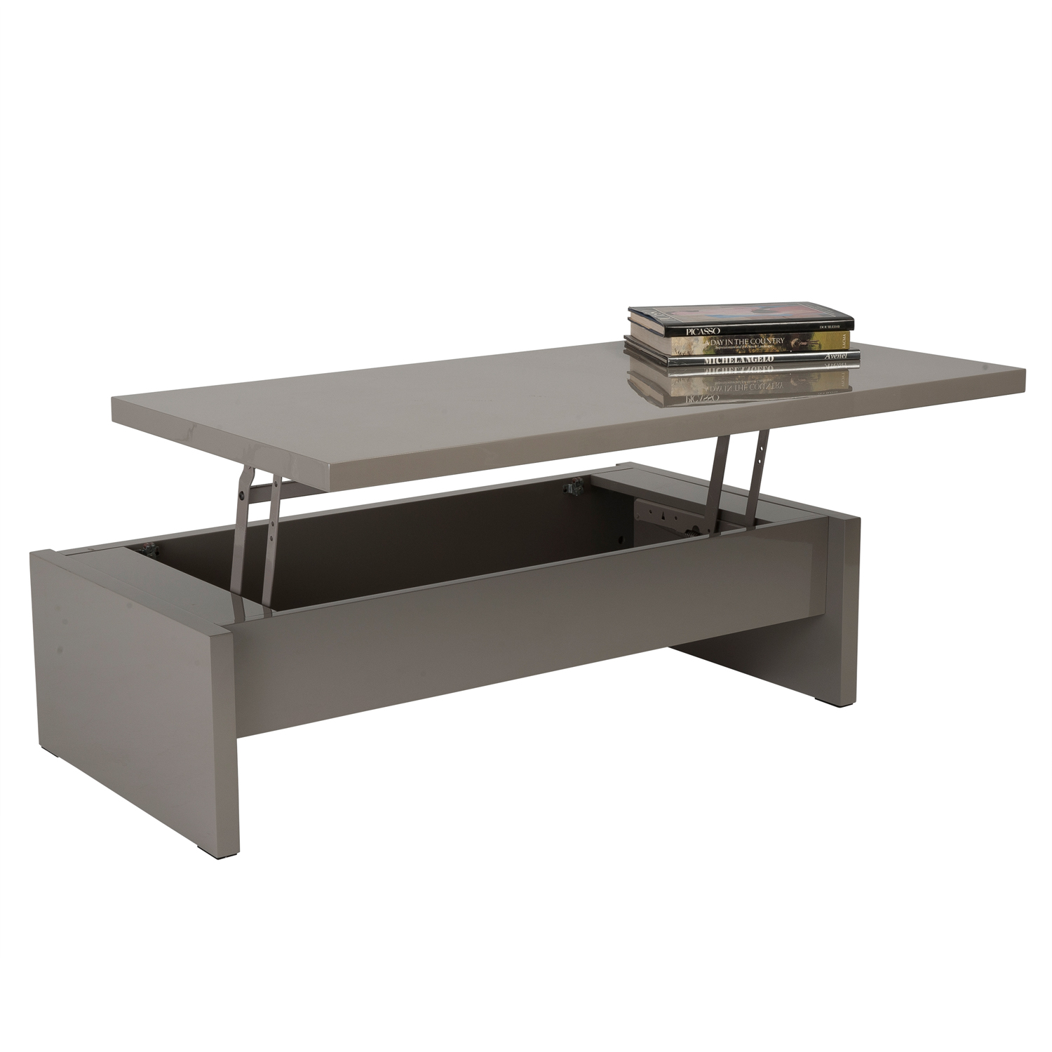 MultiLevel Storage Coffee Table White Lacquer Affordably