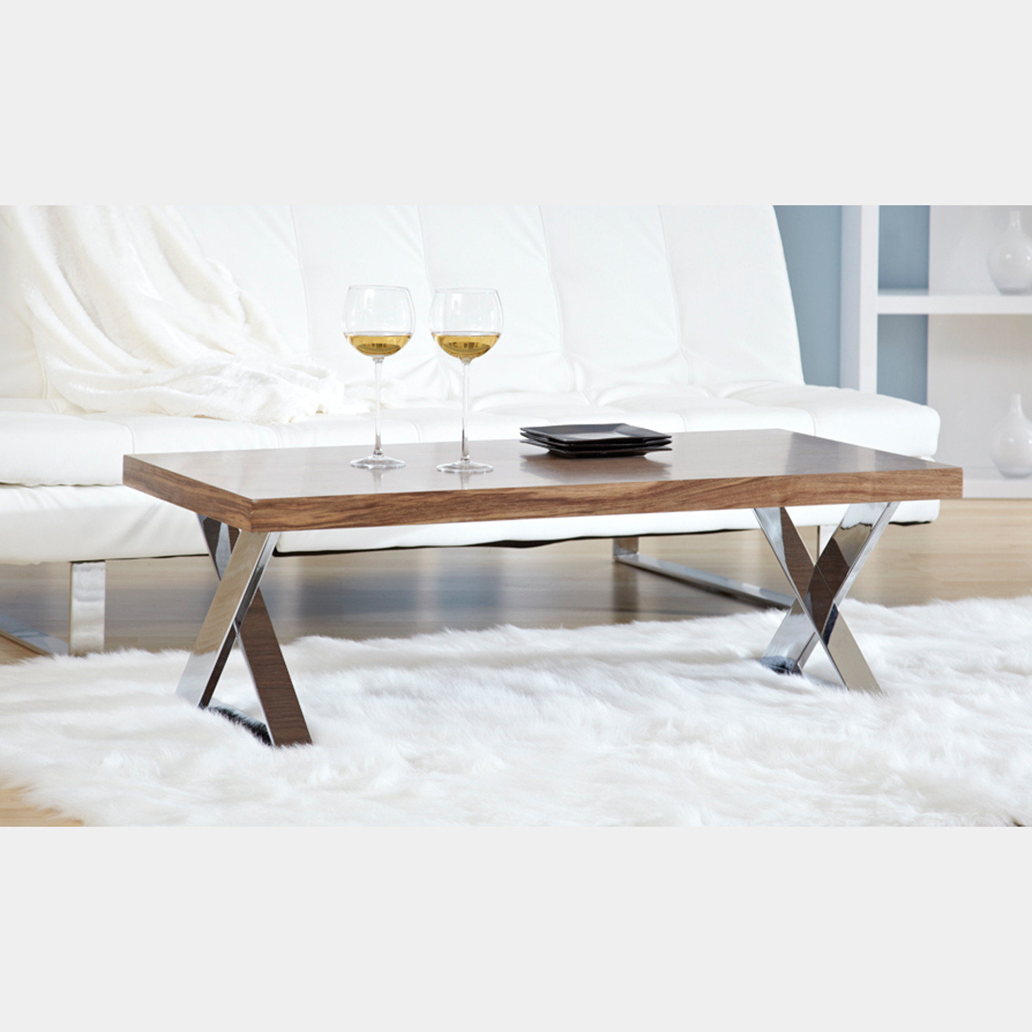 Contemporary Coffee Table Bases: X-Base Coffee Table (Walnut/Chrome)