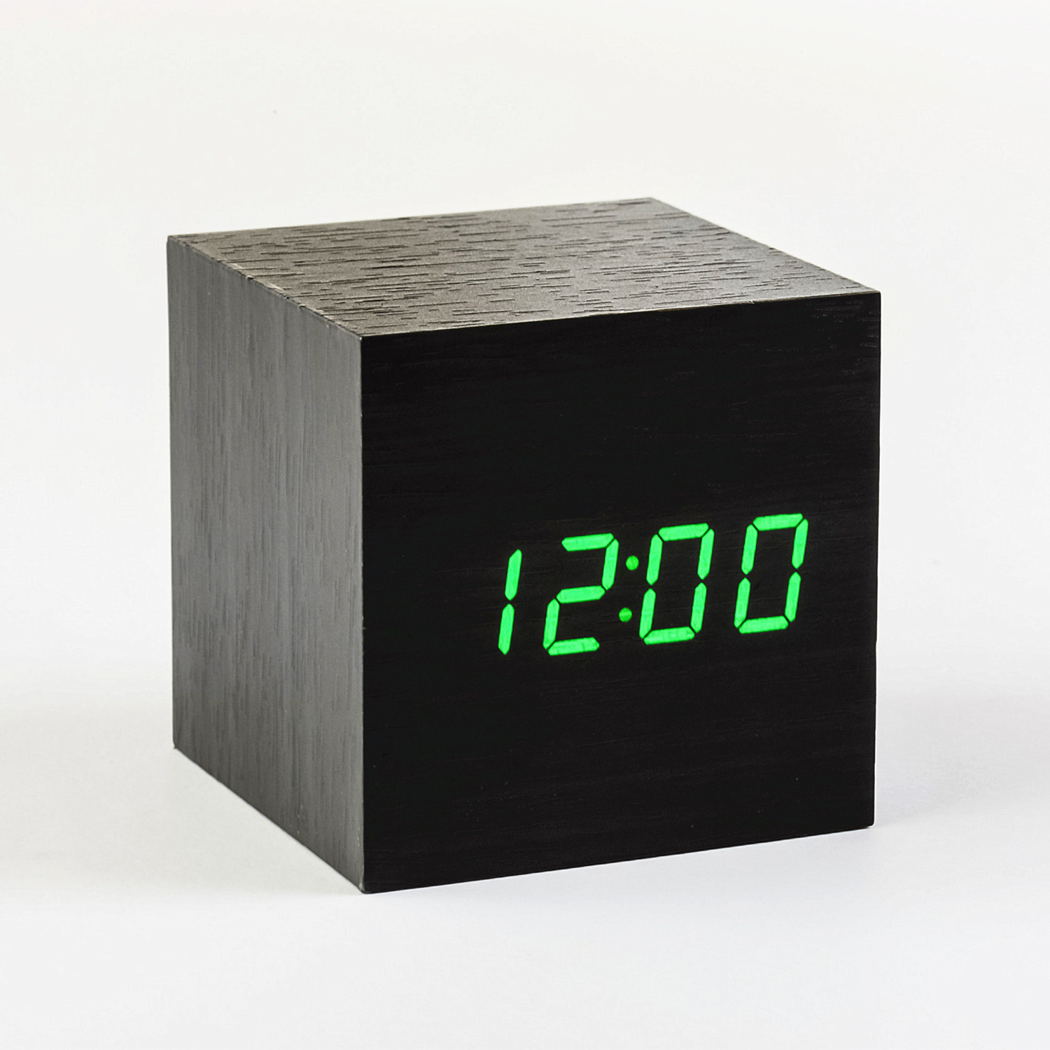 cube click clock green led black gingko eco touch. Black Bedroom Furniture Sets. Home Design Ideas