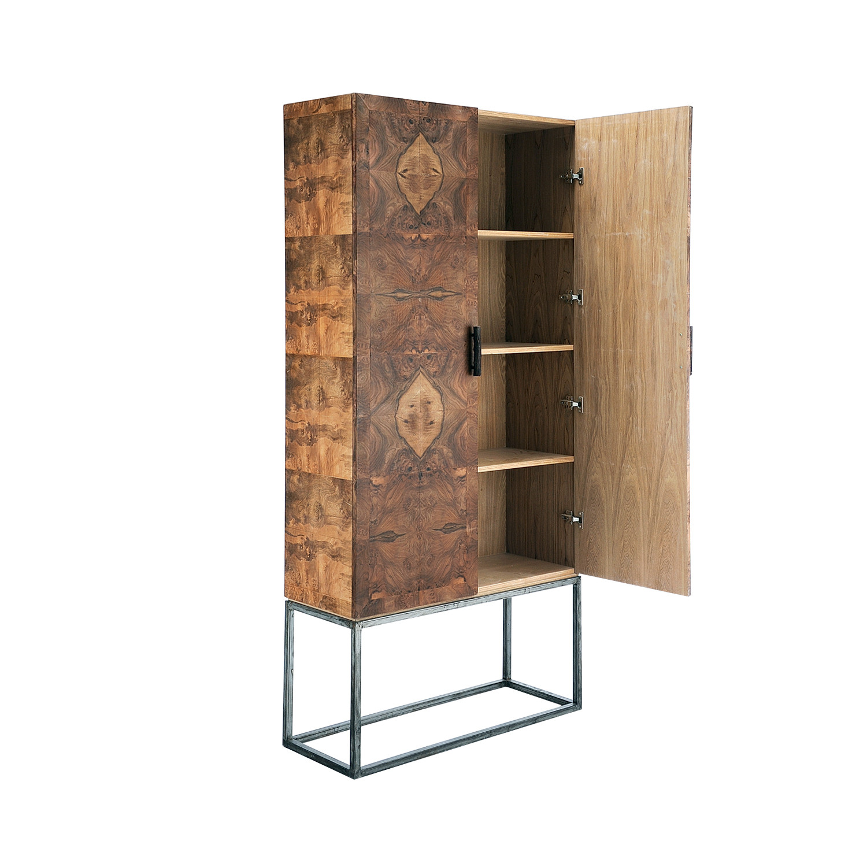 Black walnut wood metal cabinet dk living furniture for Wood and metal cabinets