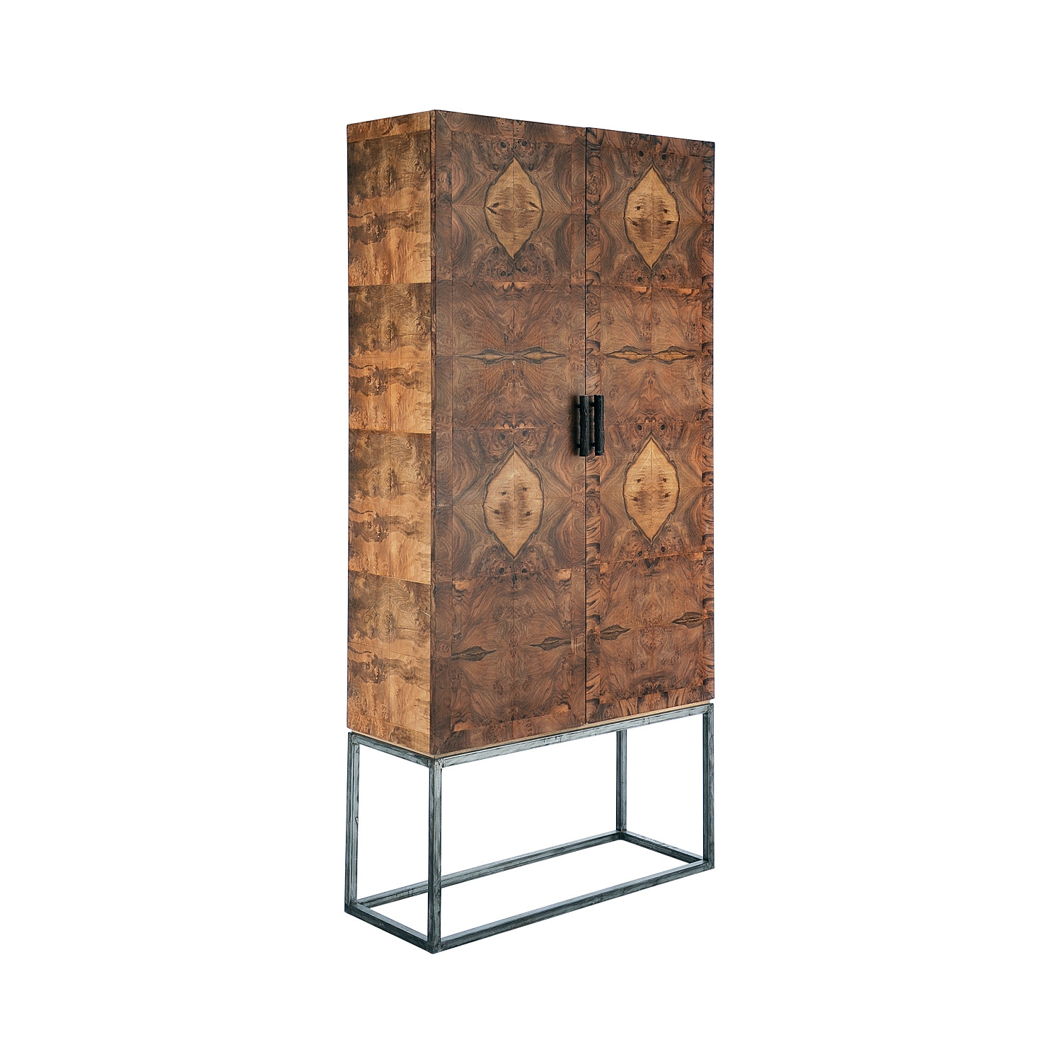 Marvelous Black Walnut Wood + Metal Cabinet