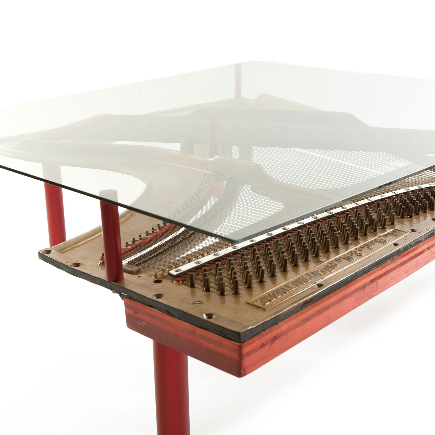 Reclaimed Knabe Piano Table w Glass Top Wine Barrel Concepts