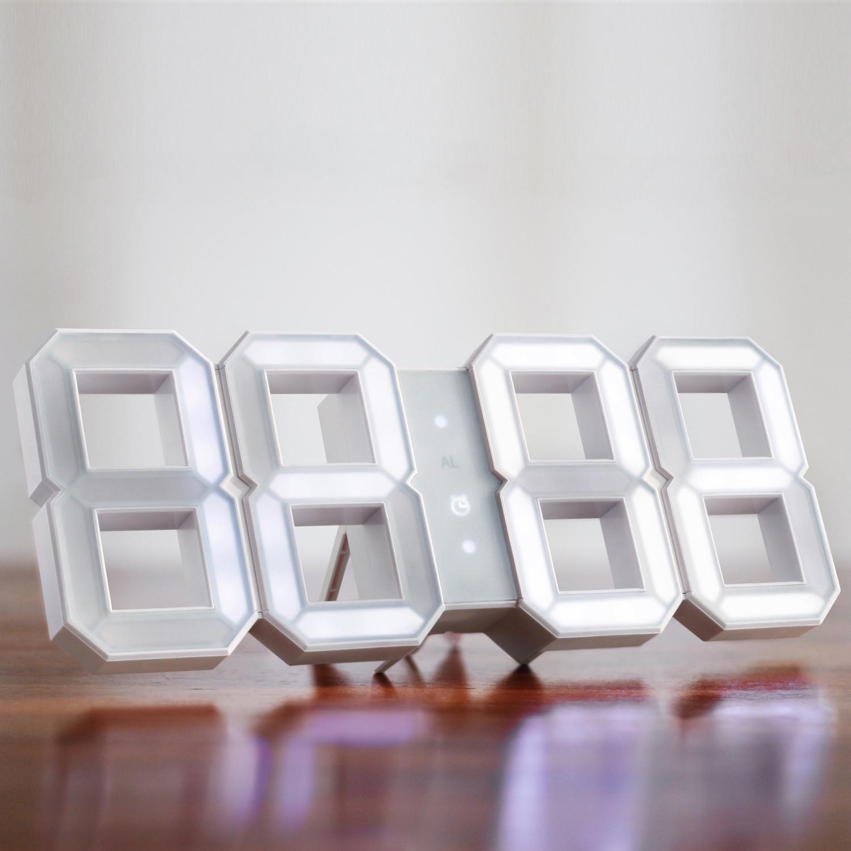 digital led clock white white kibardindesign. Black Bedroom Furniture Sets. Home Design Ideas