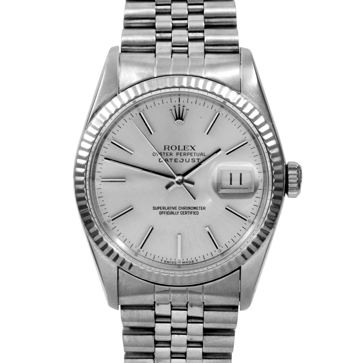 Rolex datejust stainless steel white gold c  s