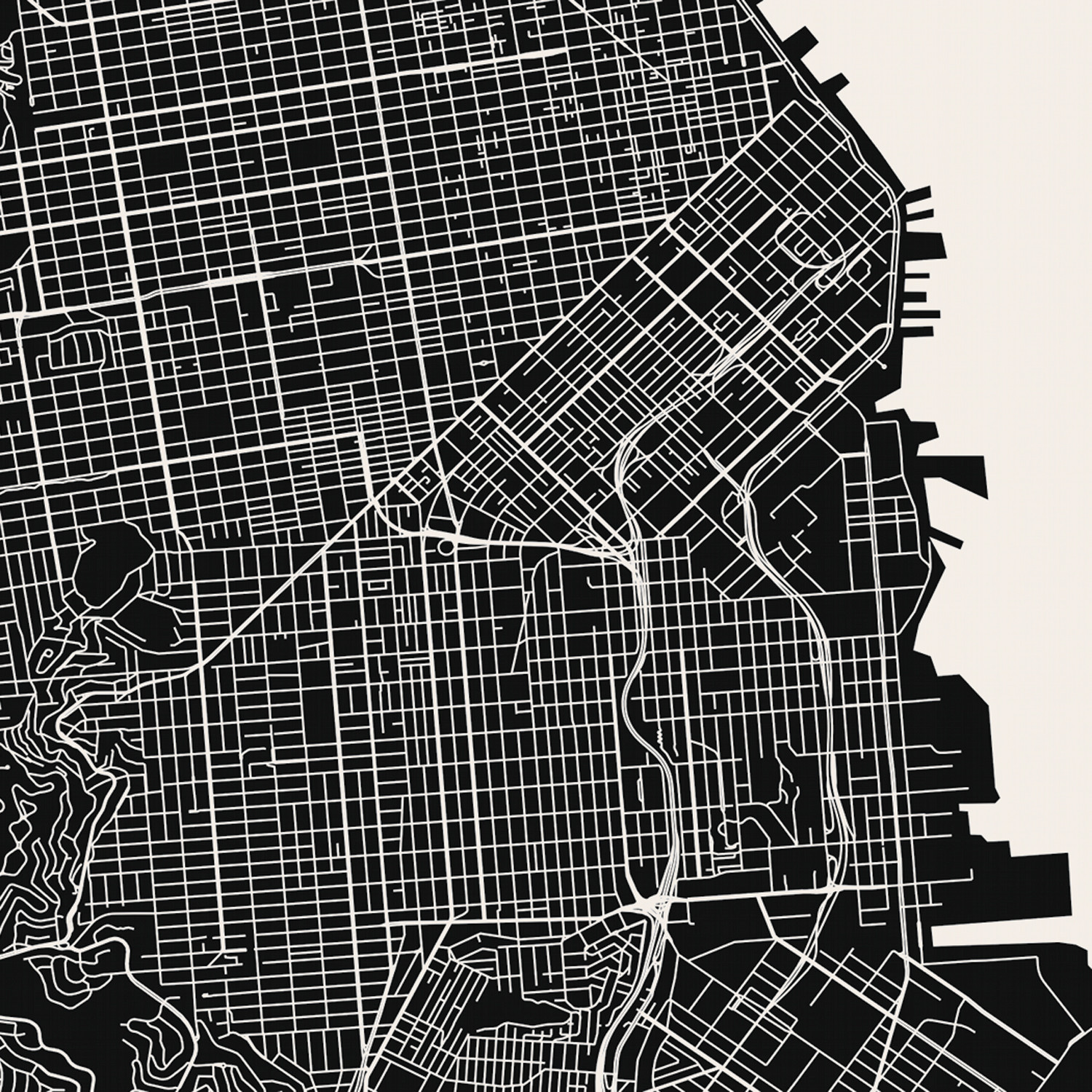 photograph about Printable Map of San Francisco known as San Francisco Map Artwork Print - Mr Town Printing - Contact of Revolutionary