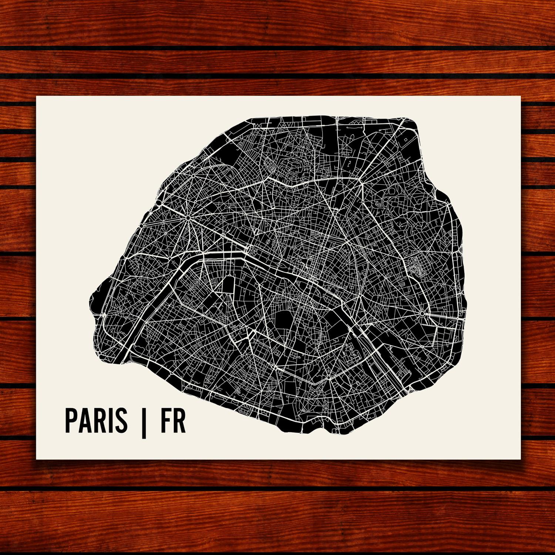 Paris Map Art Print Mr City Printing Touch Of Modern - Modern map of paris