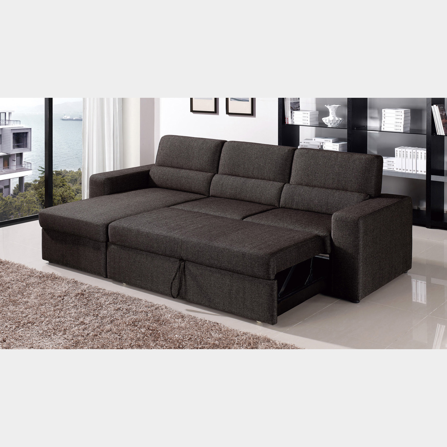 Clubber sleeper sectional left chaise black brown for Brown chaise sofa