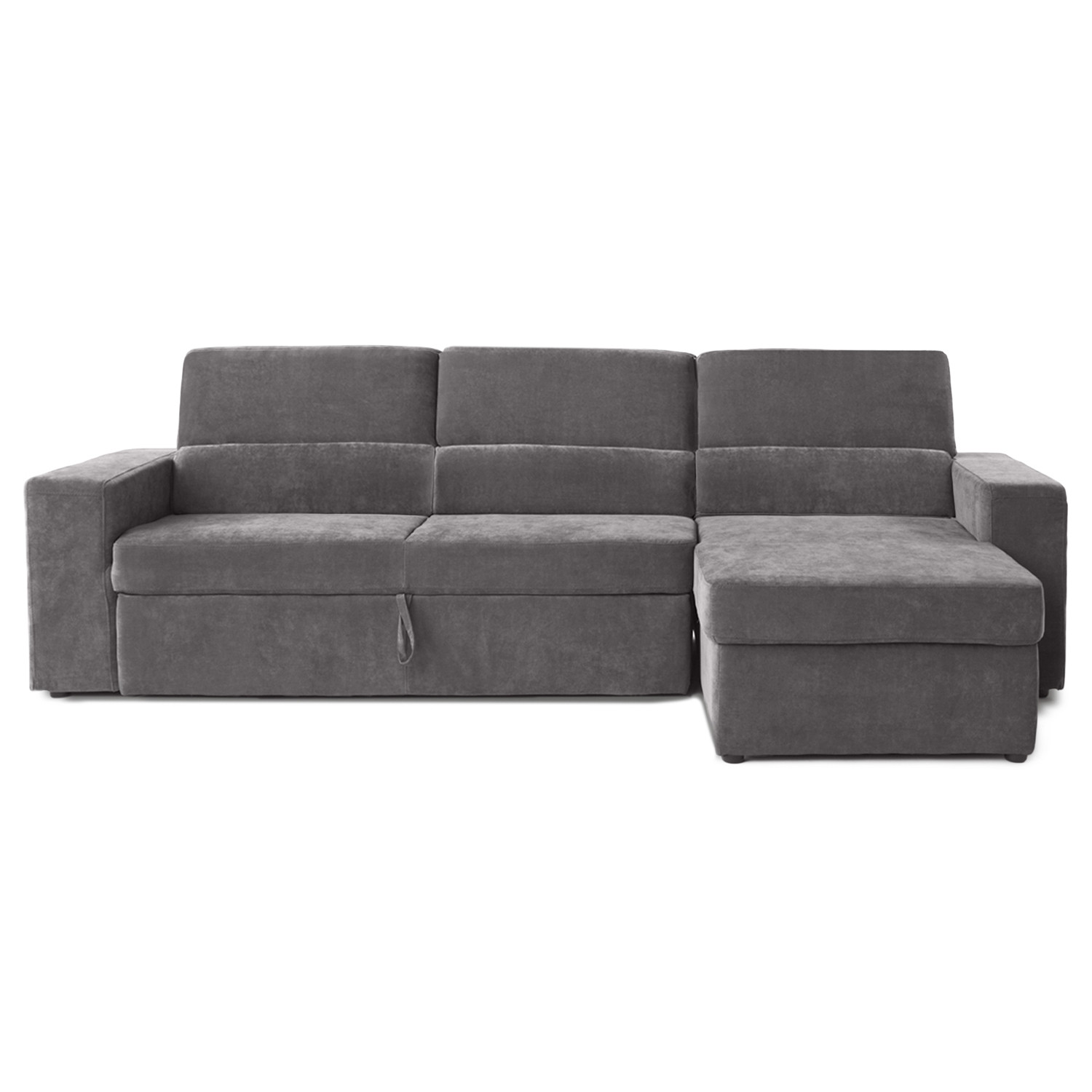 Clubber sleeper sectional left chaise black brown for Black sectional with chaise