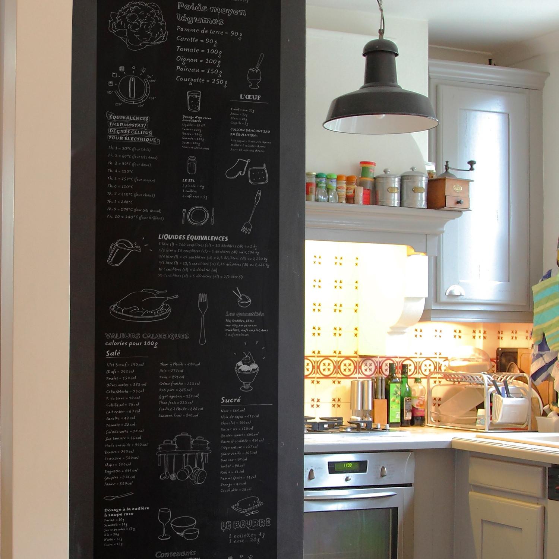 Pense Bete Cuisine pense-bête de cuisine deco (black board + white letters) - ohmywall