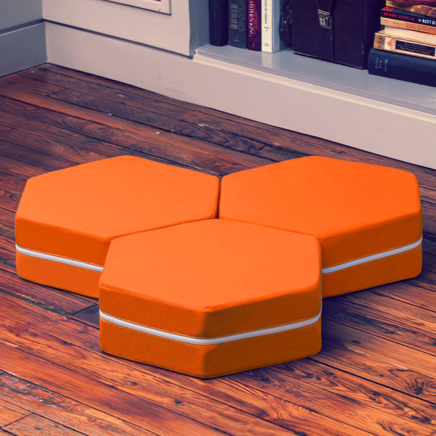 Jaxx Floor Pillows : Edgewood Hexagonal Stackable Floor Pillow // Set of 3 (Orange) - Jaxx Indoor - Touch of Modern