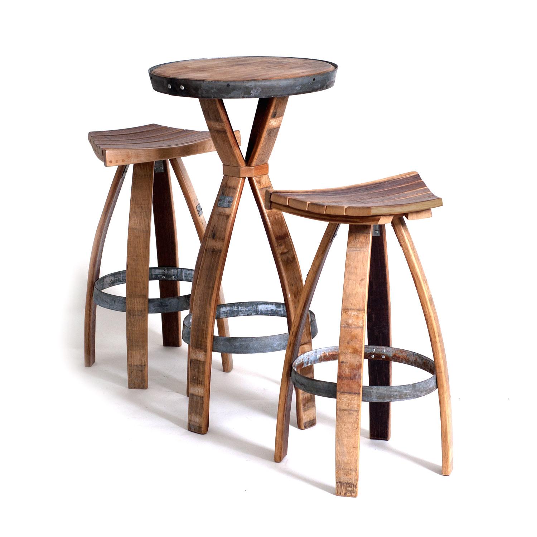 Wine Barrel Bar Set One Table Two Stools Wine