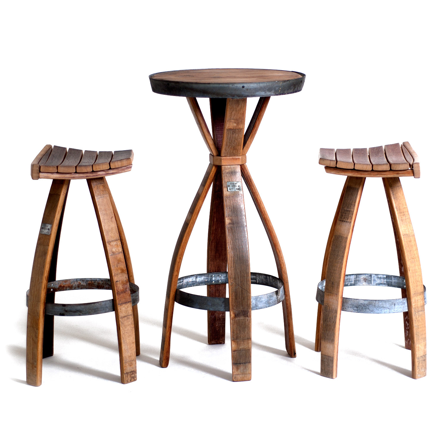 Wine Barrel Bar Set // One Table + Two Stools (Wine Barrels)  sc 1 st  Touch of Modern : wine barrel stools - islam-shia.org