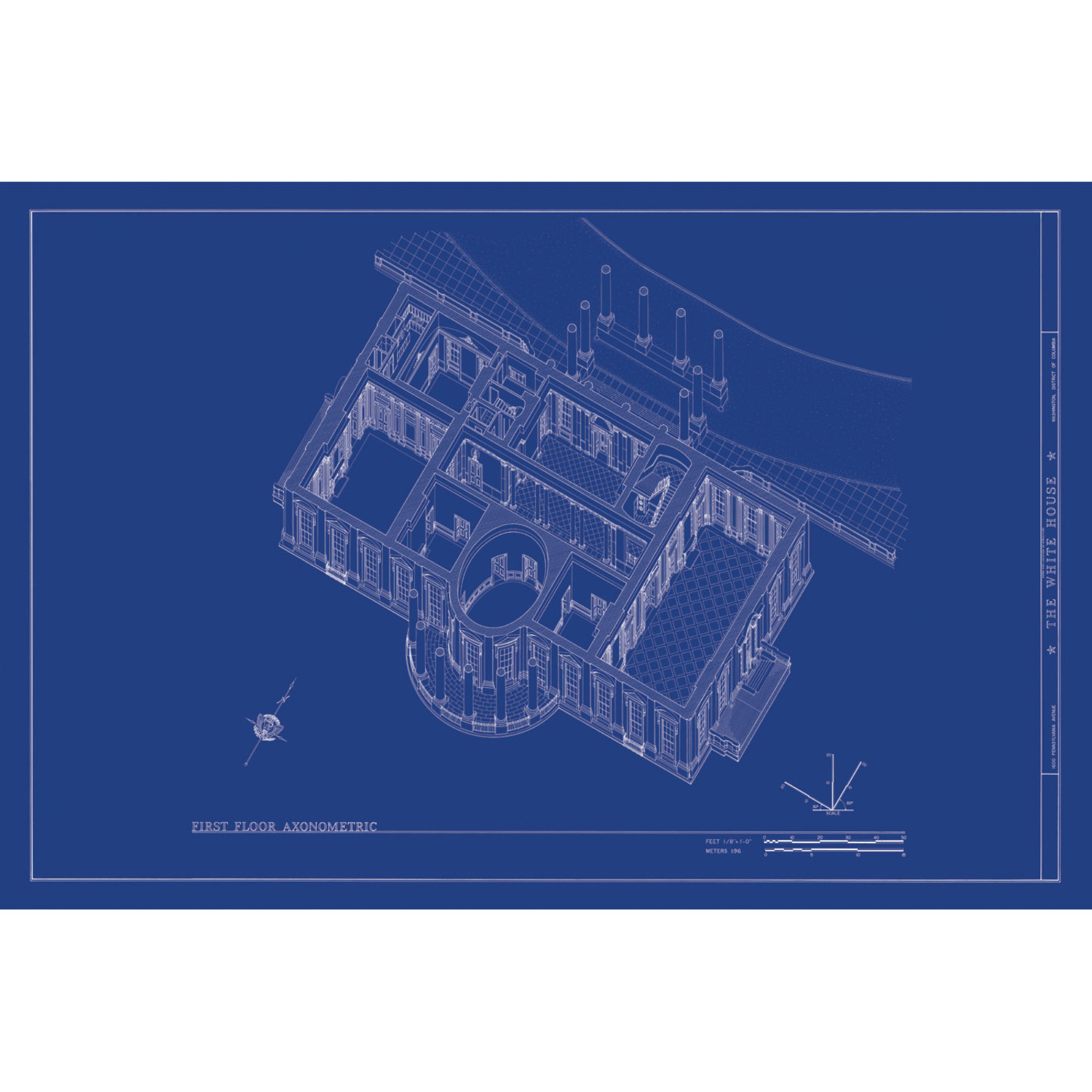 White House Axonometric - Old Blueprints - Touch of Modern