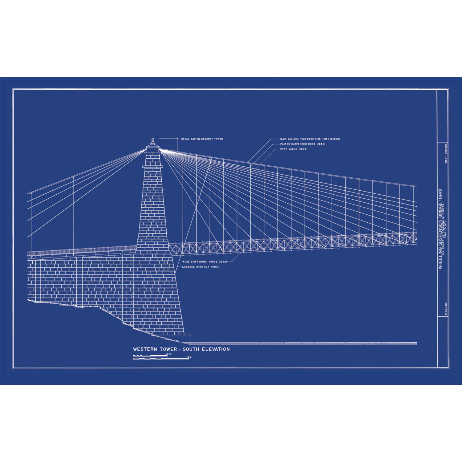 Wheeling West Virginia Suspension Bridge - Old Blueprints - Touch of ...