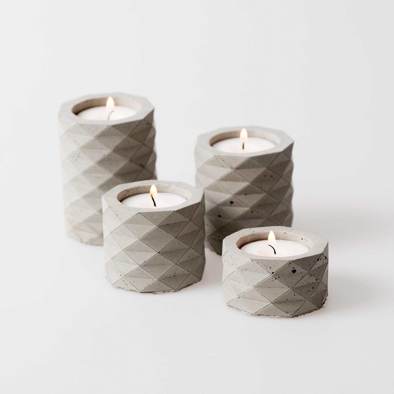 Concrete Copy Candle Holder Set 4 Pieces Concrete Grey