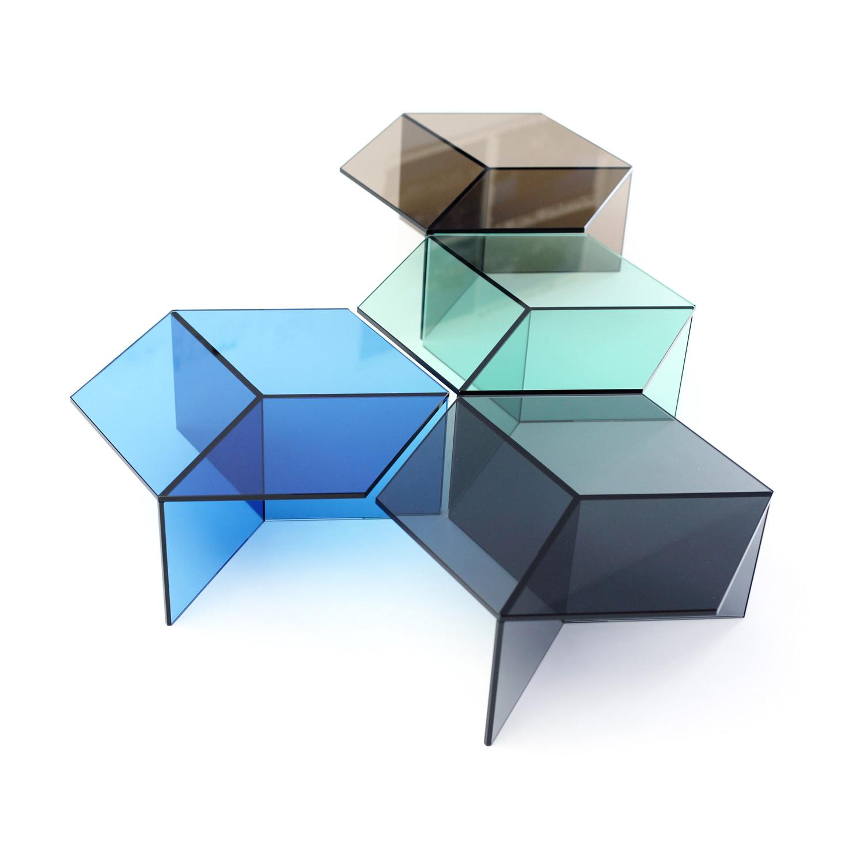 Lovely Isom Glass Table // Blue