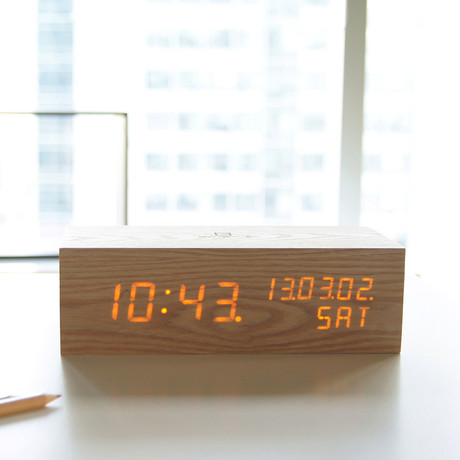 wood alarm clock led oak gingko eco touch of modern