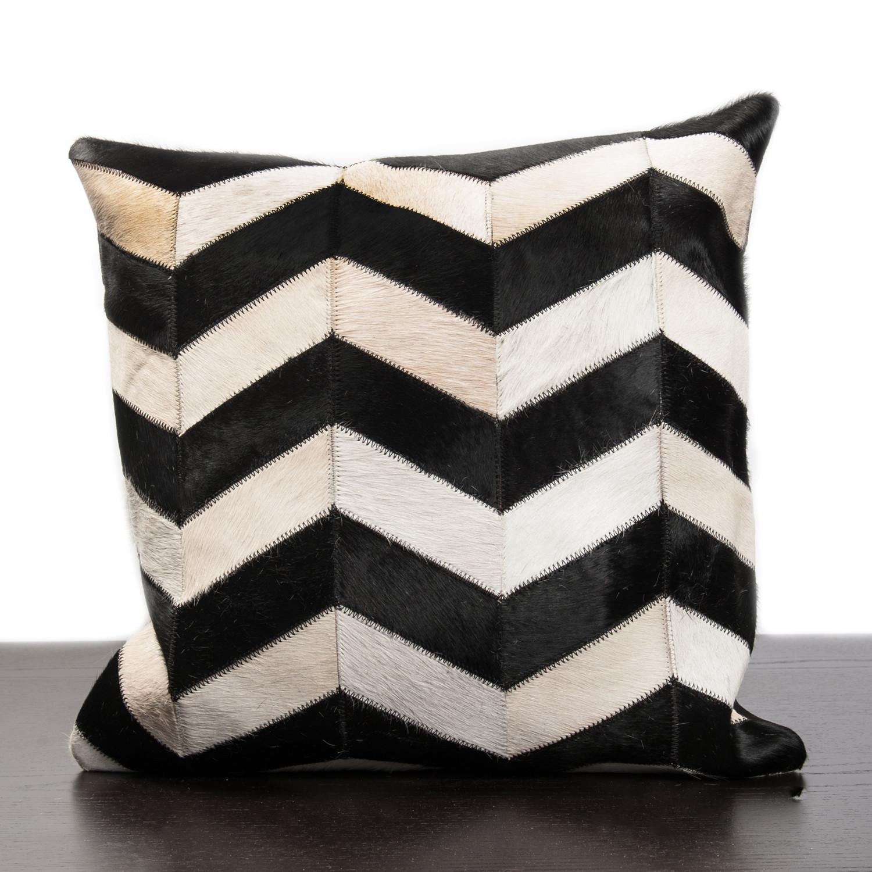 Black White Chevron Stripe Cow Hide Pillow