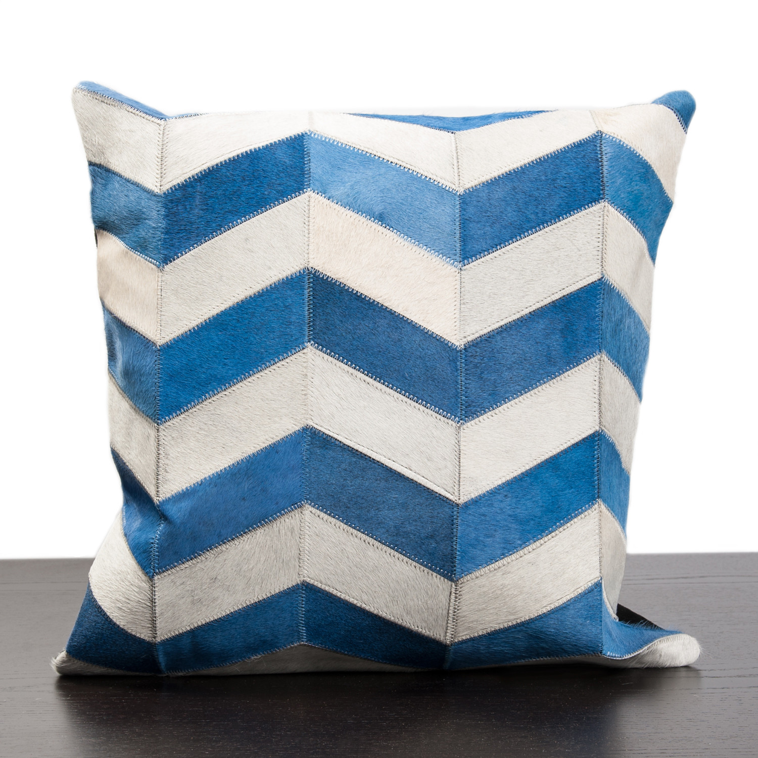 Blue & White Chevron Stripe Cow Hide Pillow - Madison Inc Pillows - Touch of Modern