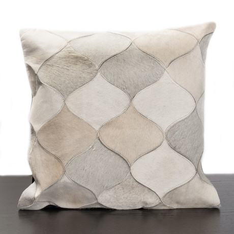 Cream & Off White Cow Hide Pattern Pillow - Madison Inc. Pillows - Touch of Modern