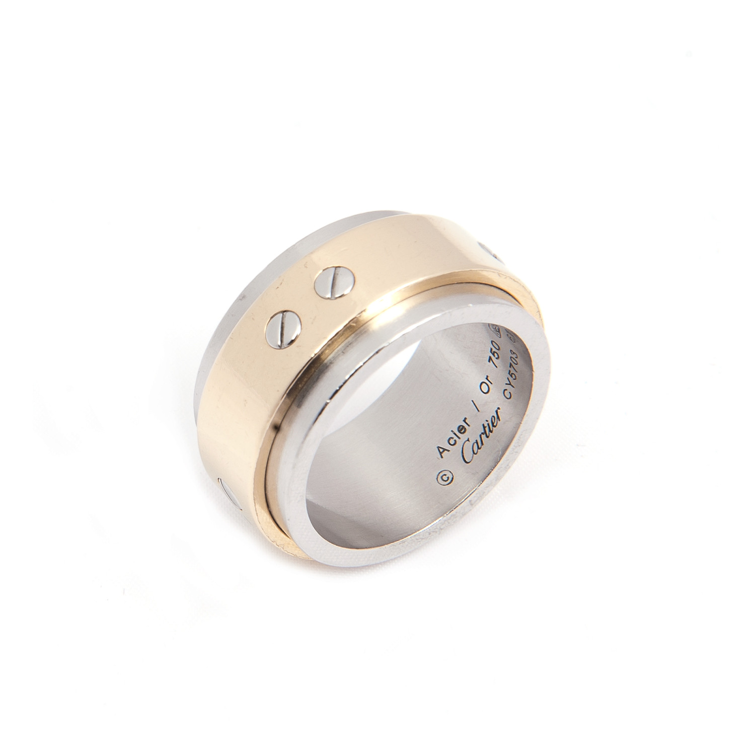 Cartier Mens Love Ring in 18k Yellow Gold Steel Size 10