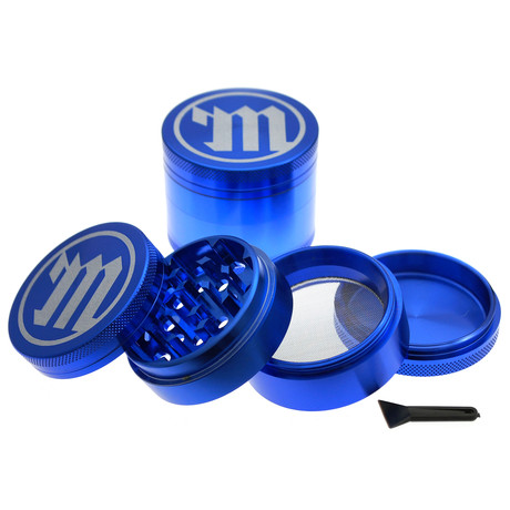 Deluxe Herb Grinder with Pollen Scoop // Blue – Limited Edition