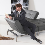 Splitback Sofa // Stainless Steel Legs (Mixed Dance Light Blue)