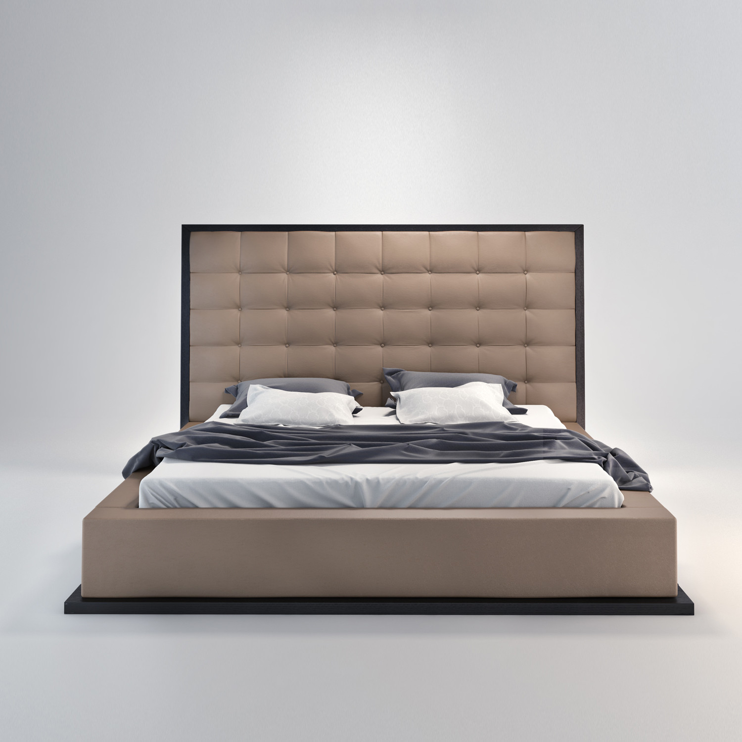 ludlow bed in wenge  taupe (queen l x w x h)  modloft  - ludlow bed in wenge  taupe (queen l x