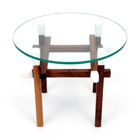 Matchstick Table // Round (Walnut + White)