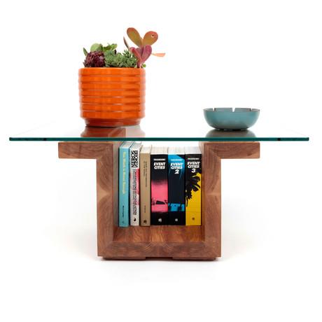 "SQG Glass Top Table // White Oak (Small: 30""L x 22""W Top)"