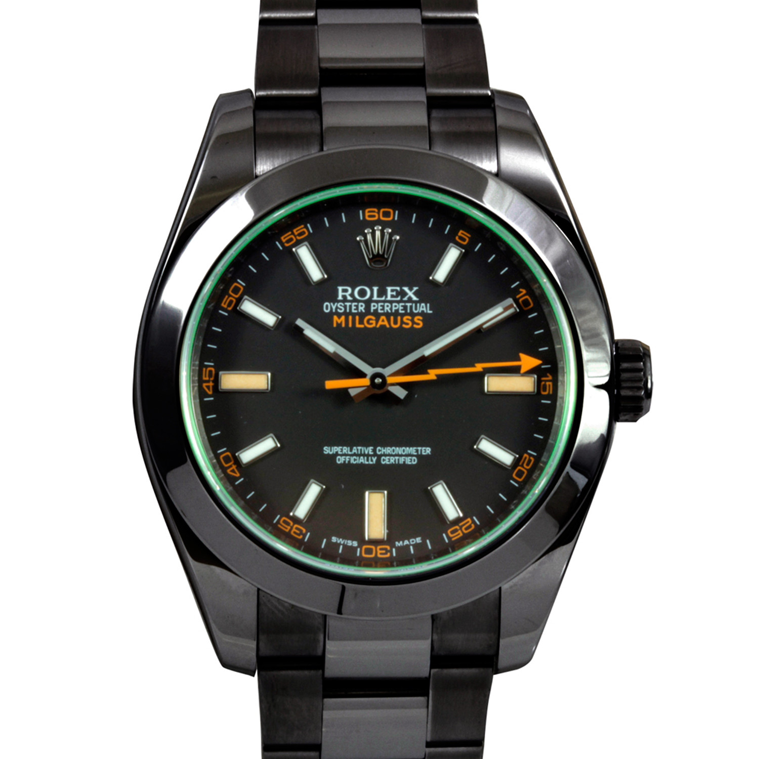 Rolex Milgauss w/ Green Crystal + Custom DLC/PVD Coating ...