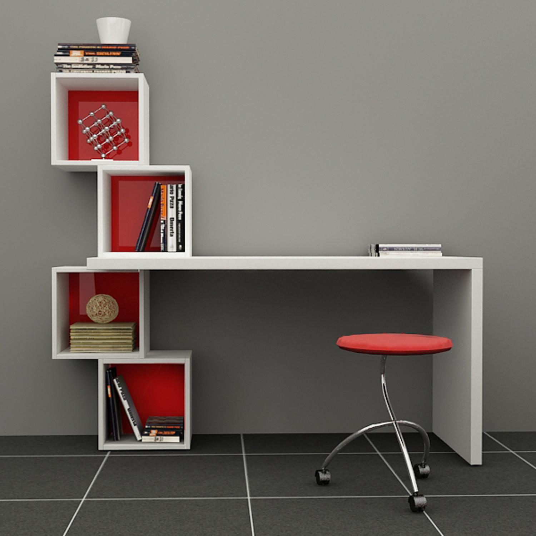 Balanced Desk & Bookcase (White, Red)